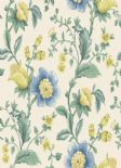Into The Woods Zinnia Cream Blue  Wallpaper 98552 By Holden